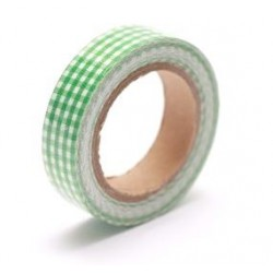 (SCB490042)ScrapBerry's Cotton Tape With Green Plaided Print
