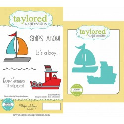 (TEPS152)Taylored Expressions Ships Ahoy Stamp & Die Combo