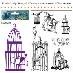 (3609-003)Clear stamp 10x15cm chercher l'intrus