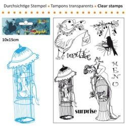 (3609-006)Clear stamp 10x15cm jeu de cage