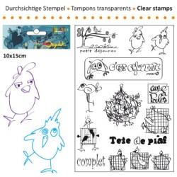 (3609-011)Clear stamp 10x15cm tete de piaf
