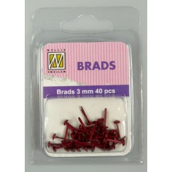 (FLP-BR005)Nellie`s Choice Floral brads Christmas red 40 PC 3mm