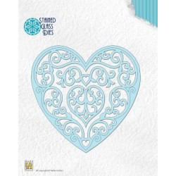 (SGD003)Nellie`s Choice Stained Glass Dies - Fantasy heart