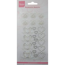 (CA3108)Decoration hearts rhinestones and pearls