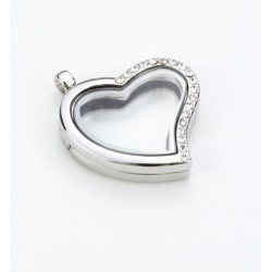 (12334-3403)Glass Pendant with Strass, Heart, Silver