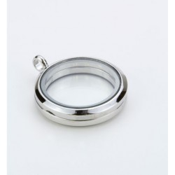 (12334-3401)Glass Pendant, Round, Silver