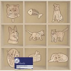 (AUWO1003)Aurelie Cats & Dogs Wooden Ornaments