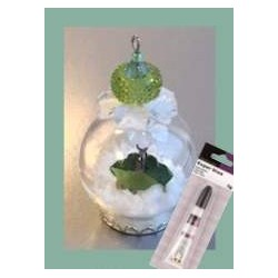 (12359-5907)Glass domes set 7 - crystalina leave