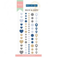 (PL4501)Marianne Design Project NL Adhesive stickers - Blue & Gr