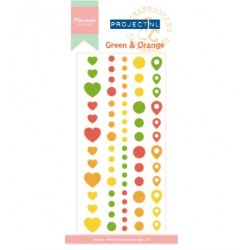 (PL4502)Marianne Design Project NL Adhesive stickers-Green & Ora