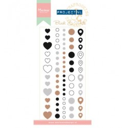 (PL4503)Marianne Design Project NL Adhesive stickers-Black & Whi