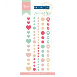 (PL4504)Marianne Design Project NL Adhesive stickers-Pink & Mint