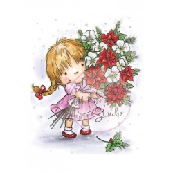 (CL423)A7 stamp set Girl with Xmas Bouquet
