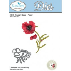 (SKU1018)Elizabeth Craft Design Die Garden Notes - Poppy