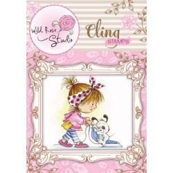 (CS334)Cling stamp Emily Vacuuming