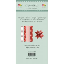 (PS02)DixiCraft Paper Stars strips Red