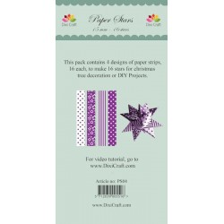 (PS04)DixiCraft Paper Stars strips Purple