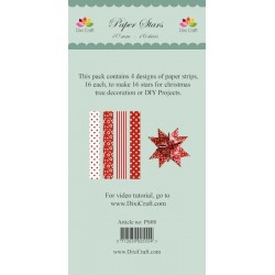 (PS08)DixiCraft Paper Stars strips small Red