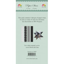 (PS09)DixiCraft Paper Stars strips small Black