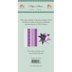 (PS10)DixiCraft Paper Stars strips small Purple