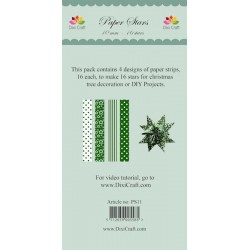 (PS11)DixiCraft Paper Stars strips small Green