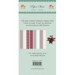 (PS12)DixiCraft Paper Stars strips small Mix