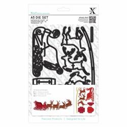 (XCU503932)Xcut A5 Die Set (9pcs) - Reindeer and Sleigh