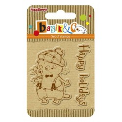 (SCB4907041)ScrapBerry's Clear Stamps Basik & Co Happy Holidays