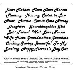 (PCA-TP3966EW)EMBOSSING Female Orientated Words CURSIVE Version 2