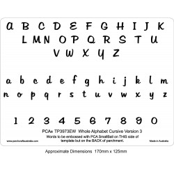 (PCA-TP3973EW)EMBOSSING Whole Alphabet CURSIVE Version 3