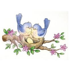 (CL489)stamp A7 set Birds on nest