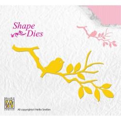 (SD106)Nellie's Shape Dies Birdie on branch