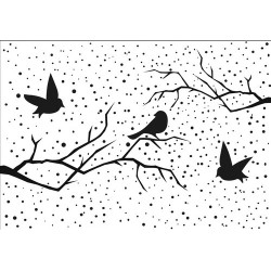 (EFE027)Embossing folder Snowy scene with birds