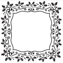 (EFE025)Embossing folder Christmas square holly frame