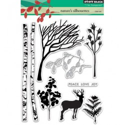 (30-380)Penny Black Stamp clear Nature's silhouettes