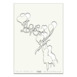 (STE-FY-00116-A5)Claritystamp Art Stencil A5 Girl Love Ballon