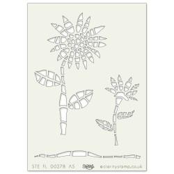 (STE-FL-00278-A5)Claritystamp Art Stencil A5 Sunflower
