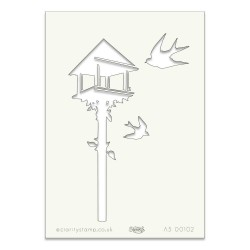 (STE-BI-00102-A5)Claritystamp Art Stencil A5 Bird Table