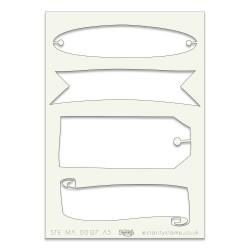 (STE-MA-00127-A5)Claritystamp Art Stencil A5 Banner Panels