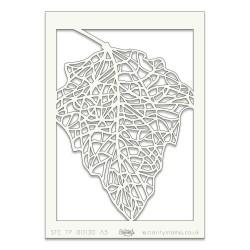(STE-FL-00130-A5)Claritystamp Art Stencil A5 Skeleton Leaf