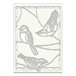 (STE-BI-00104-A5)Claritystamp Art Stencil A5 Bird On Branches