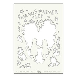(STE-PE-00188-A5)Claritystamp Art Stencil A5 Friends