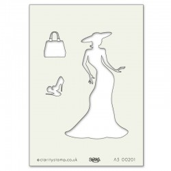 (STE-FA-00201-A5)Claritystamp Art Stencil A5 Elegant Lady And Ac