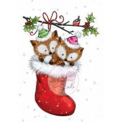 (CL499)Wild Rose Studio`s A7 stamp Foxes in Stocking