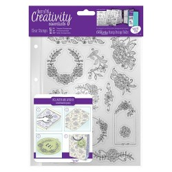 (DCE907123)Docrafts A5 Clear Stamp Set (15pcs) - Floral Icons