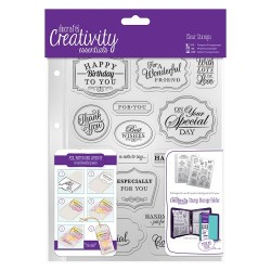 (DCE907118)Docrafts A5 Clear Stamp Set (18pcs) - Trad Sentiment