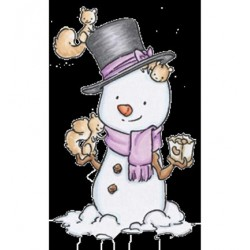 (RS12)C.C. Designs Stamp Rustic Sugar Snowman with Squirrel