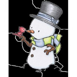 (RS11)C.C. Designs Stamp Rustic Sugar Snowman with Robin