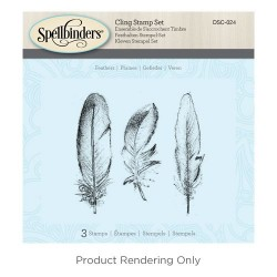 (DSC-024)Spellbinders Feathers 3D Cling Stamp Set