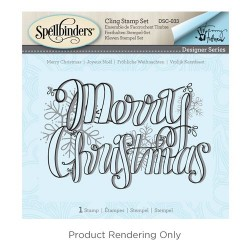 (DSC-033)Spellbinders Merry Christmas 3D Cling Stamp Set